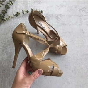 LK BENNETT Sandy Strappy Heels Taupe Leather Heels